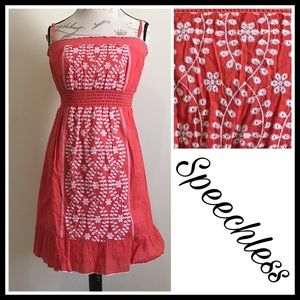 Speechless Coral Embroidered Spring Dress Lg